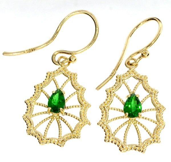 APP: 3.2k 14 kt Gold 0.81CT Pear Cut Tsavorite Earrings