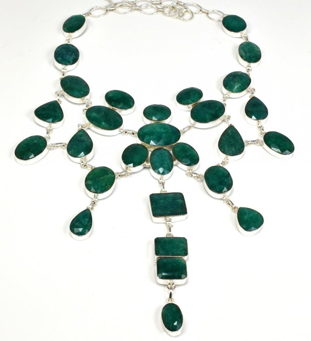 APP: 25k 369CT  Mixed Cut Grn Beryl & Silver Necklace