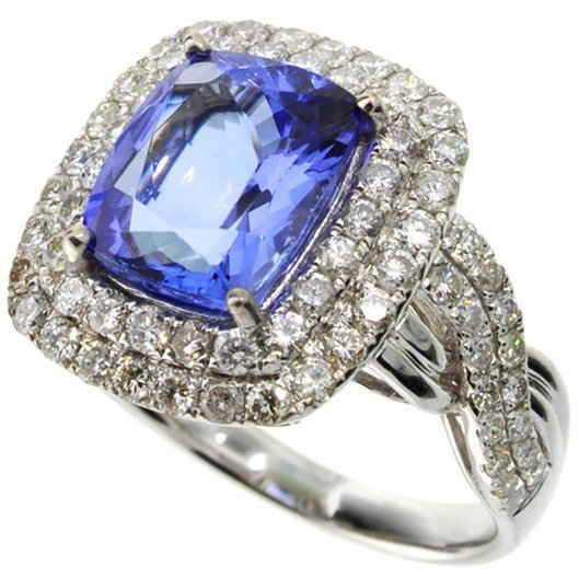 APP: 12k *14 kt White Gold 4CT Tanzanite & Diamond Ring