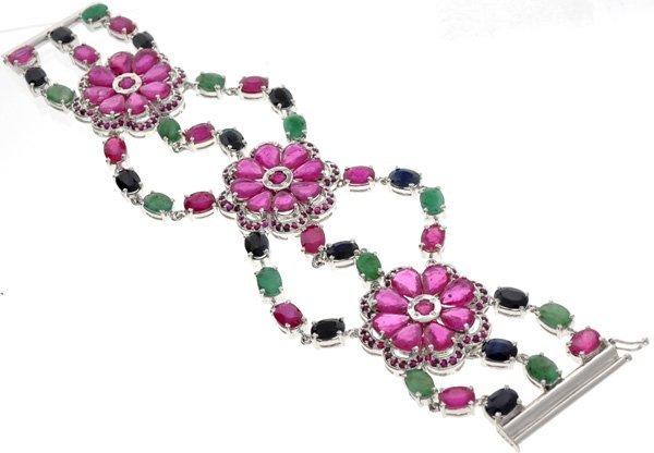 APP: 25k 48CT Multi Precious Gemstone & Silver Bracelet