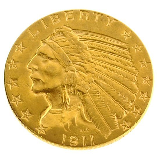 *1911 $5 U.S Indian Head Type Gold Coin - Investment