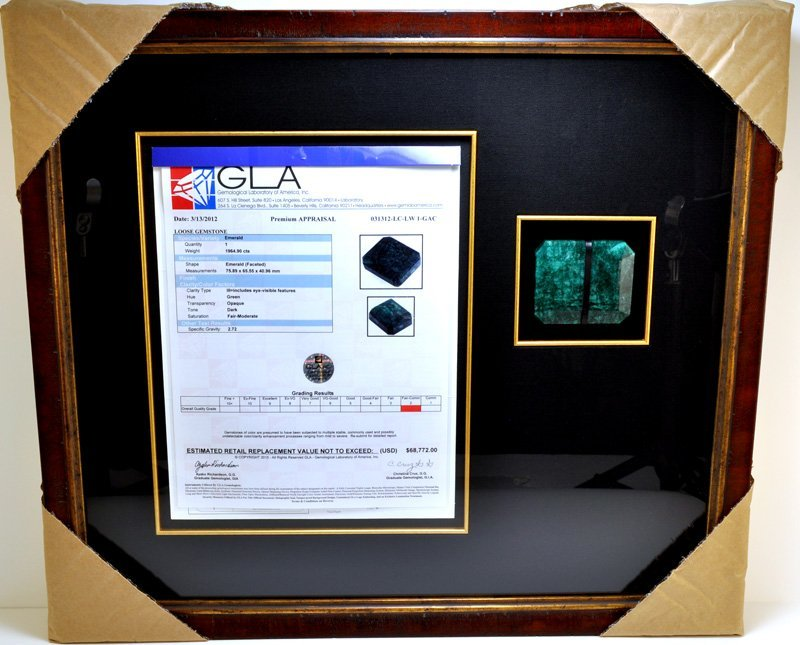 APP: 68k 1964CT Museum Framed Emerald Gemstone