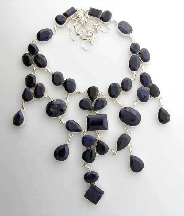 APP: 30k 462CT  Mixed Cut Sapphire & Silver Necklace
