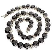 APP: 67k *14kt White Gold, Black/White Diamond Necklace