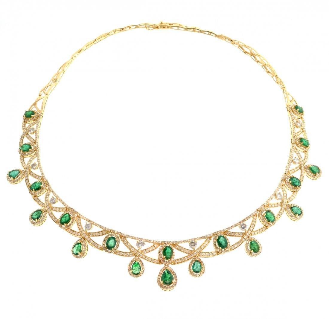 APP: 59k *14kt Gold, 14CT Pear Emerald/Diamond Necklace