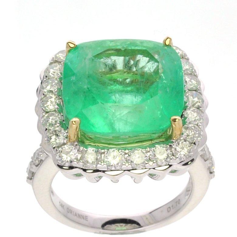 APP: 41k *14kt White Gold, Emerald & 1CT Diamond Ring