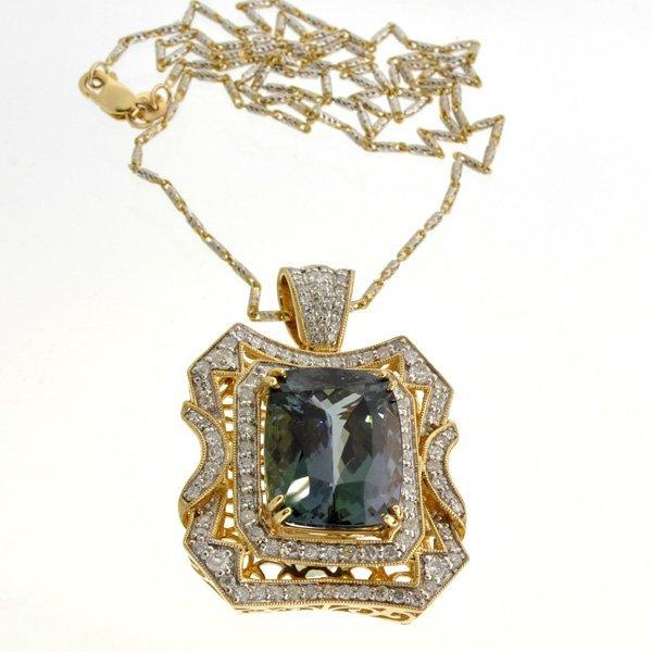 APP: 26k *14 kt Gold Natural Zoisite & Diamond Pendant