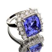 APP: 14k *14kt White Gold, 9CT Tanzanite & Diamond Ring