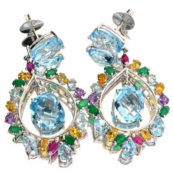 APP: 3k Topaz & Semiprecious Gemstone & Silver Earrings