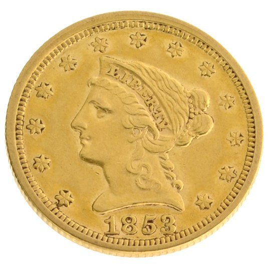 *1853 $2.5 U.S Liberty Head Type Gold Coin - Investment