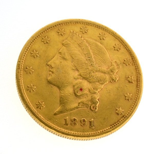 *1891-S $20 U.S Liberty Head Type Gold Coin
