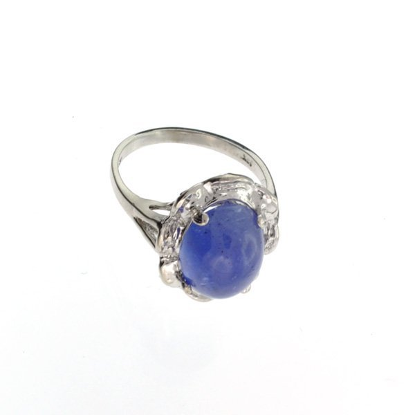 APP: 12k 14kt White Gold, 6 CT Oval Cut Tanzanite Ring