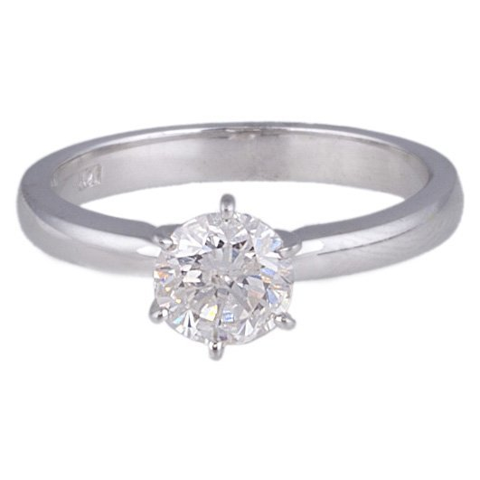 APP: 6k *14kt White Gold, 0.98CT Round Cut Diamond Ring