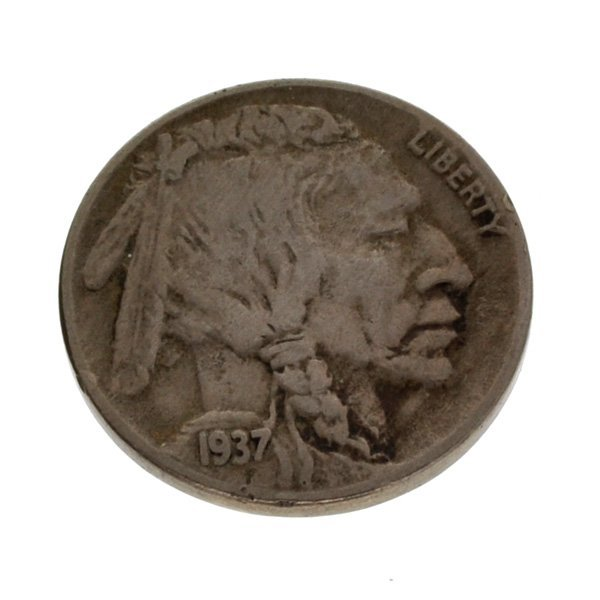 1937-D U.S Five Cents 3 Legs Buffalo Type Coin
