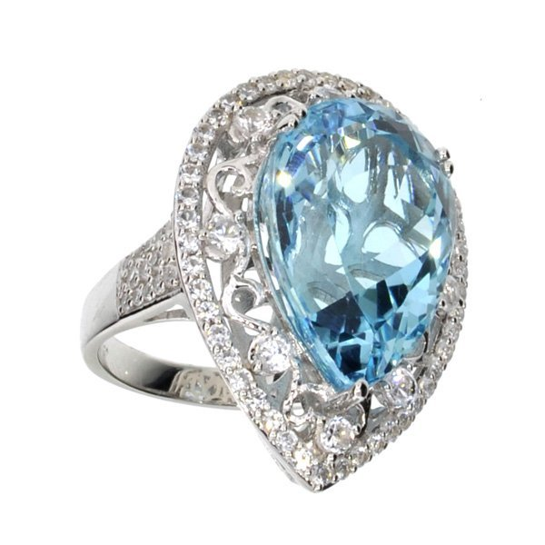 APP: 5k 21CT  Topaz & Sapphire Sterl Silver Ring