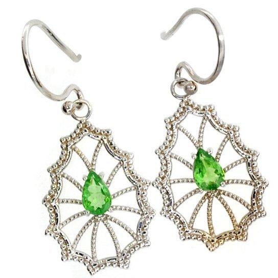 APP: 2k 14kt White Gold Pear Cut Tsavorite Earrings