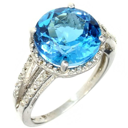 APP: 2k 5CT  Topaz & Diamond Platinum Over Silver Ring