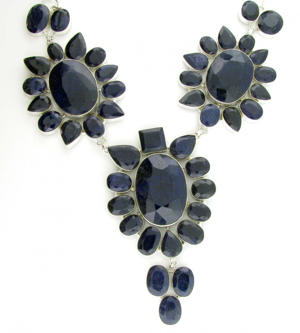 APP: 43k 641CT  Sapphire & Sterling Silver Necklace
