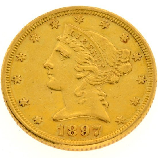 1897 $5 U.S. Liberty Head Gold Coin - Investment