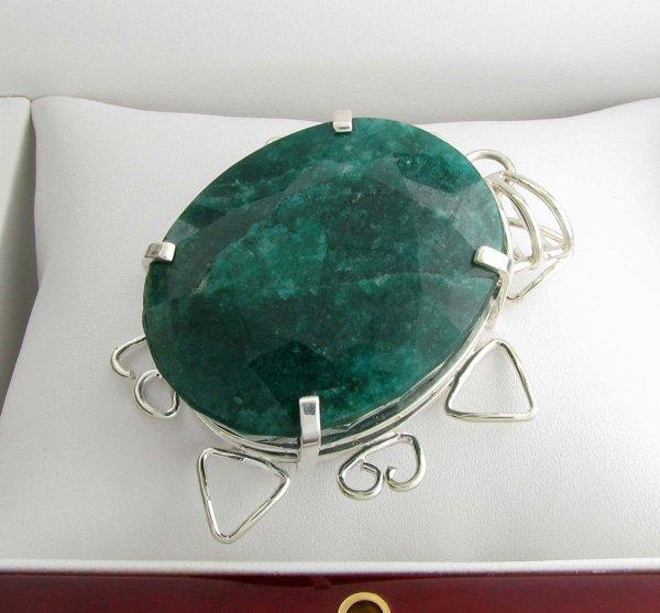 APP: 14k Sebastian 344CT Oval Emerald & Silver Pendant