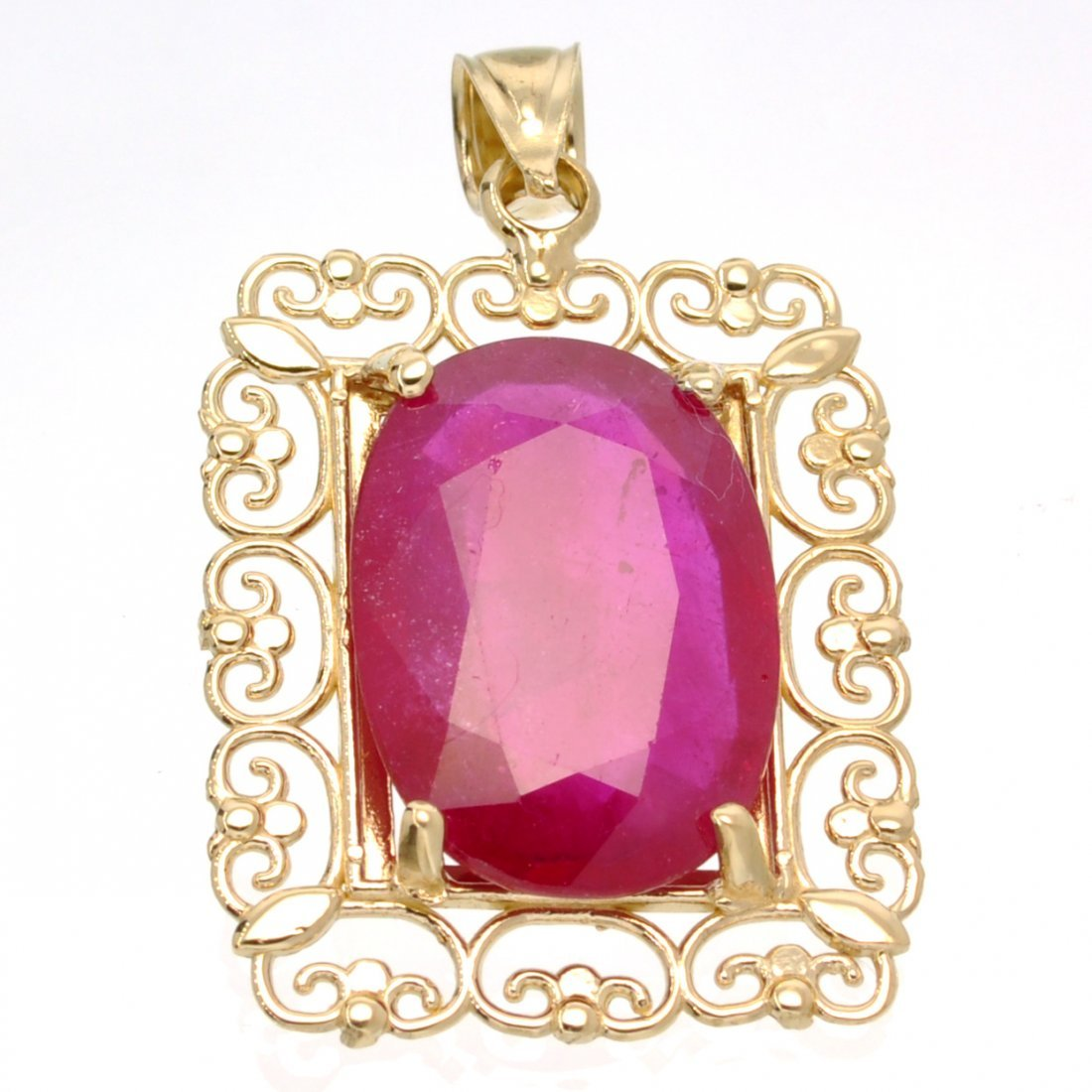 APP: 11.5k 14 kt. Gold, 22.38CT Oval Cut Ruby Pendant