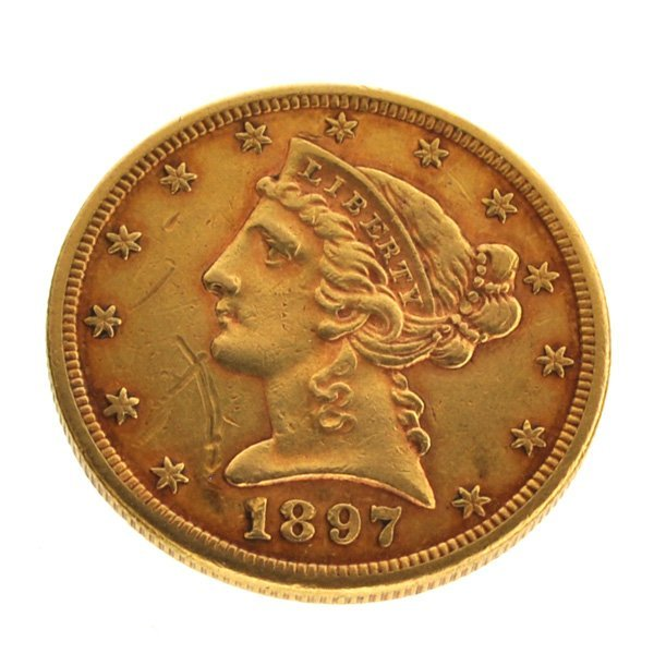 1897-S $5 U.S Liberty Head Type Gold Coin - Investment