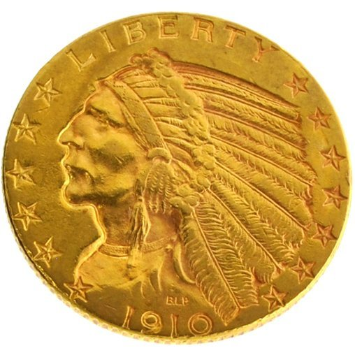 *1910 $5 U.S Indian Head Type Gold Coin - Investment
