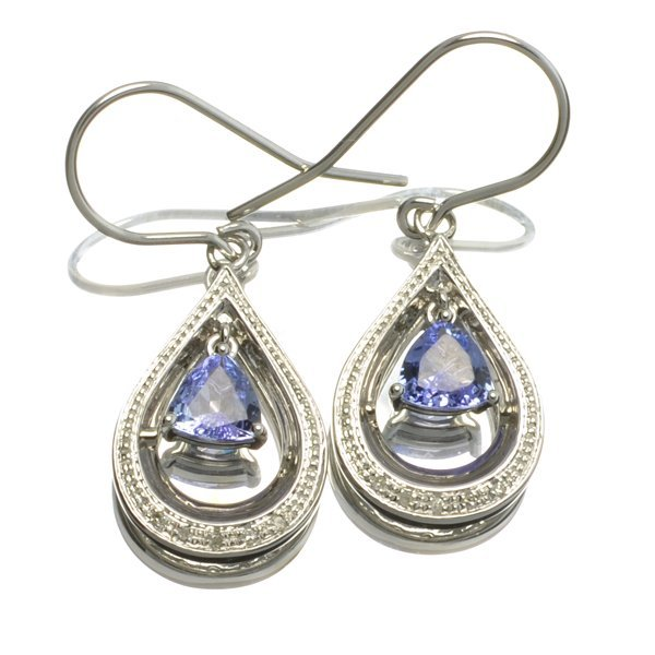 APP: 1k  Tanzanite & Diamond Sterl Silver Earrings