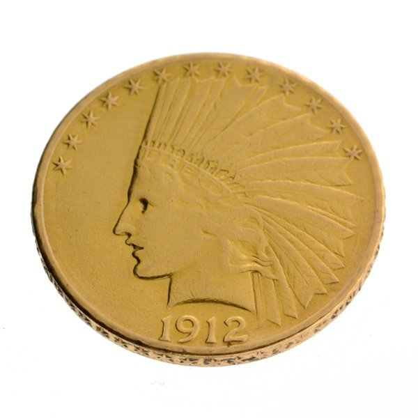 1912-S Rare Museum $10 U.S Indian Head Type Gold Coin