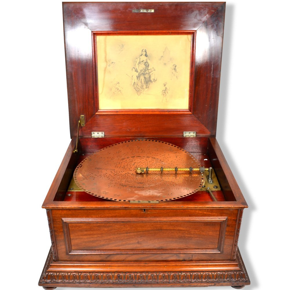 Regina Double-Comb Music Disc Player Omate Wood Cabinet