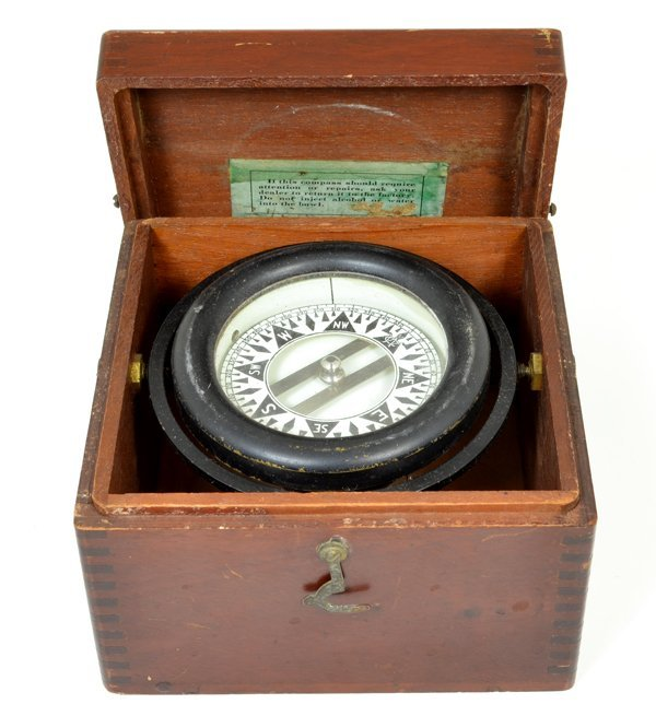 Early Floating Compass In Wooden Box w/Latches