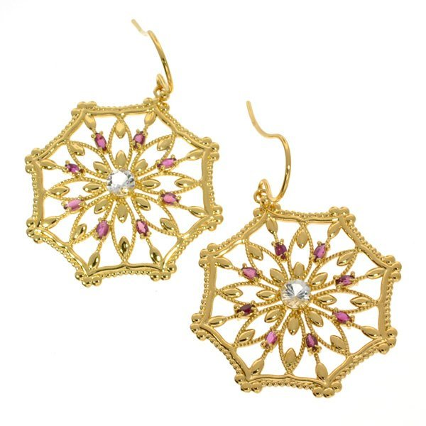 APP: 2k 1CT Ruby & Topaz 18kt Silver Earrings