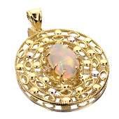 APP 3k 14kt Yellow  White Gold Opal  Topaz Pendant