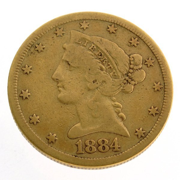 1884-S $5 U.S. Liberty Head Gold Coin - Investment