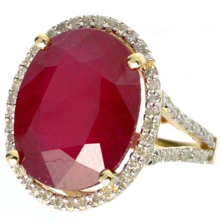 APP: 21k *14kt Gold, 17CT Oval Ruby & Diamond Ring