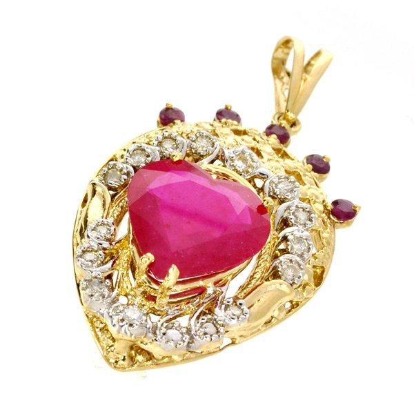APP: 19k 14 kt Yellow/White Gold Ruby & Diamond Pendant