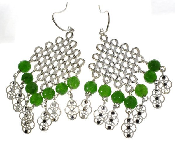 APP: 4k 27CT  Emerald Cut Cabochon & Silver Earrings