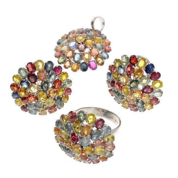 APP: 23k 47CT Gemstone Silver Ring, Pendant, & Earrings