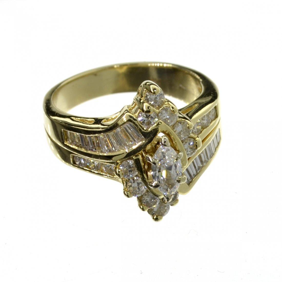 APP: 10.6k 14 kt. Gold, 1.71CT Mixed Cut Diamond Ring