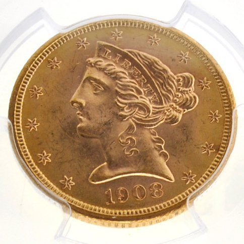 *1908 $5 Liberty Head Gold Coin - Investment