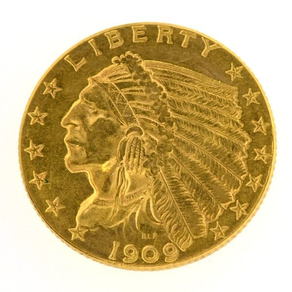 1909 $2.5 U.S. Indian Head Gold Coin - Investment