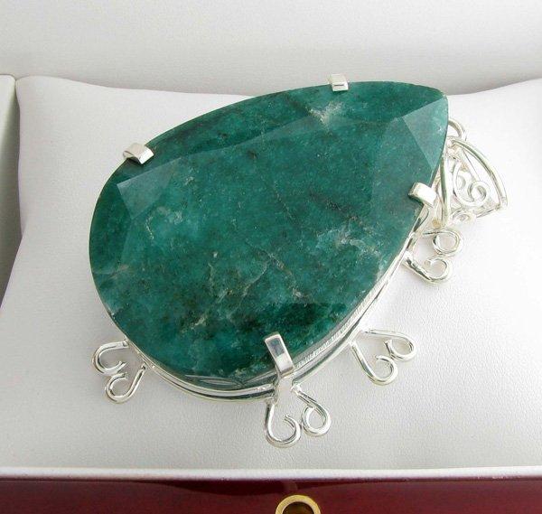 APP: 17k Sebastian 125CT Pear Emerald & Silver Pendant