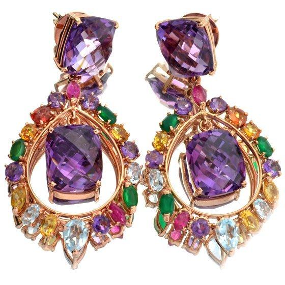 APP: 3k 35CT Amethyst Quartz/Gemstone Silver Earrings