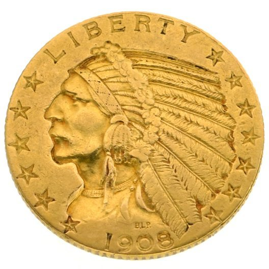 1908 $5 U.S Indian Head Type Gold Coin - Investment
