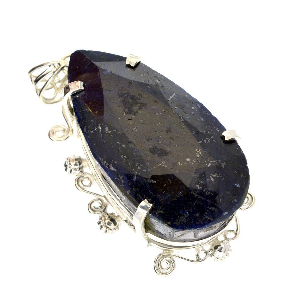 APP: 18k Sebastian 421CT Pear Sapphire & Silver Pendant