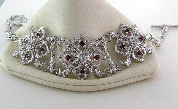 APP: 6k 1CT  Ruby & Platinum Sterling Silver Bracelet
