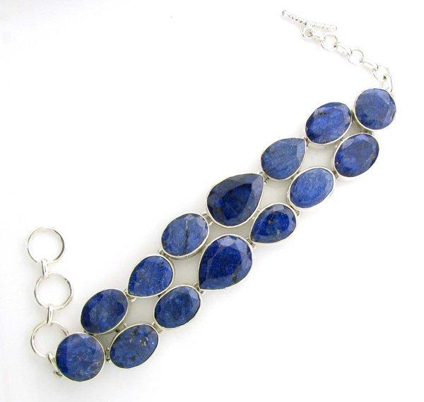 APP: 9k 117CT  Mixed Cut Sapphire Sterl Silver Bracelet