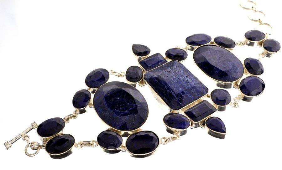 APP: 20k 258CT  Mixed Cut Sapphire & Silver Bracelet