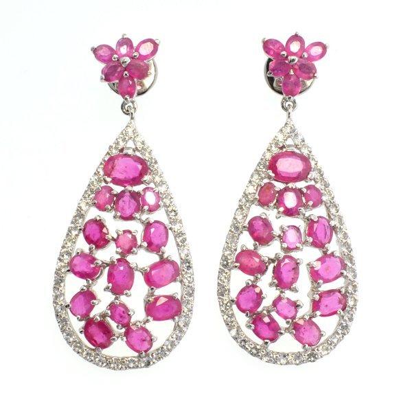 APP: 7k 14CT  Ruby & Topaz Sterl Silver Earrings