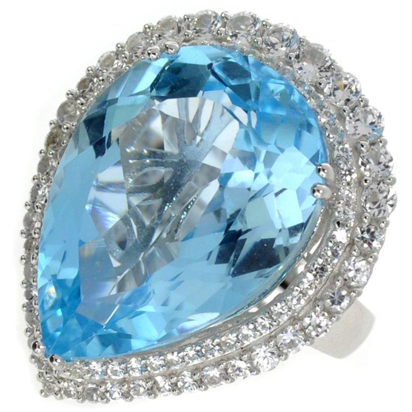 APP: 8k 37CT  Pear Cut Topaz & Sapphire Silver Ring